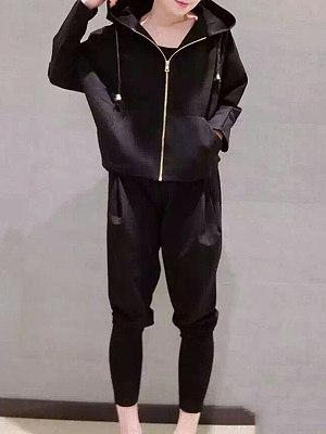 Hooded Zipper Plain Hoodie Suit