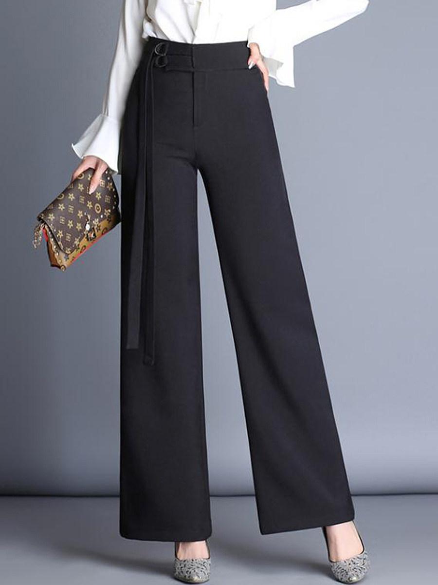 BerryLook Office Black High-Rise Wide-Leg Pants