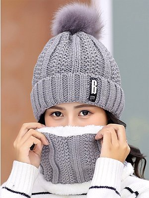 Lady Korea Style Fashion Warm Two Piece Hats For Winter фото