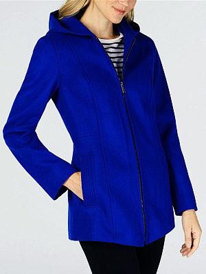 Hooded  Zipper  Plain Coat