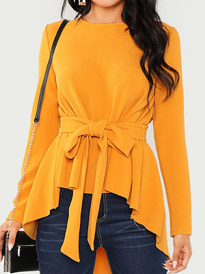 Round Neck Patchwork Elegant Plain Lace Up Long Sleeve Blouse, 8639462