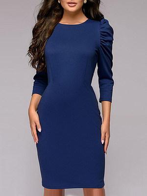 Round Neck Plain Puff Sleeve Bodycon Dress