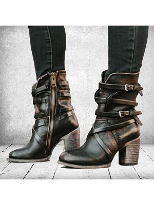 Plain Round Toe Casual Outdoor Boots фото