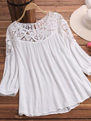 Round Neck Patchwork Elegant Lace Three-Quarter Sleeve T-Shirts, 8140870