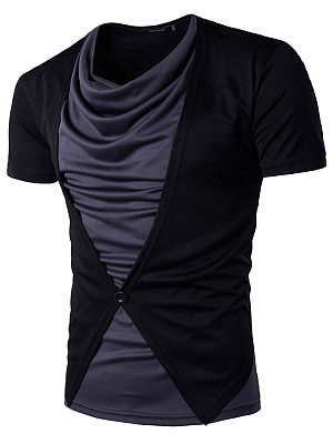 Cowl Neck  Color Block Men T-Shirt