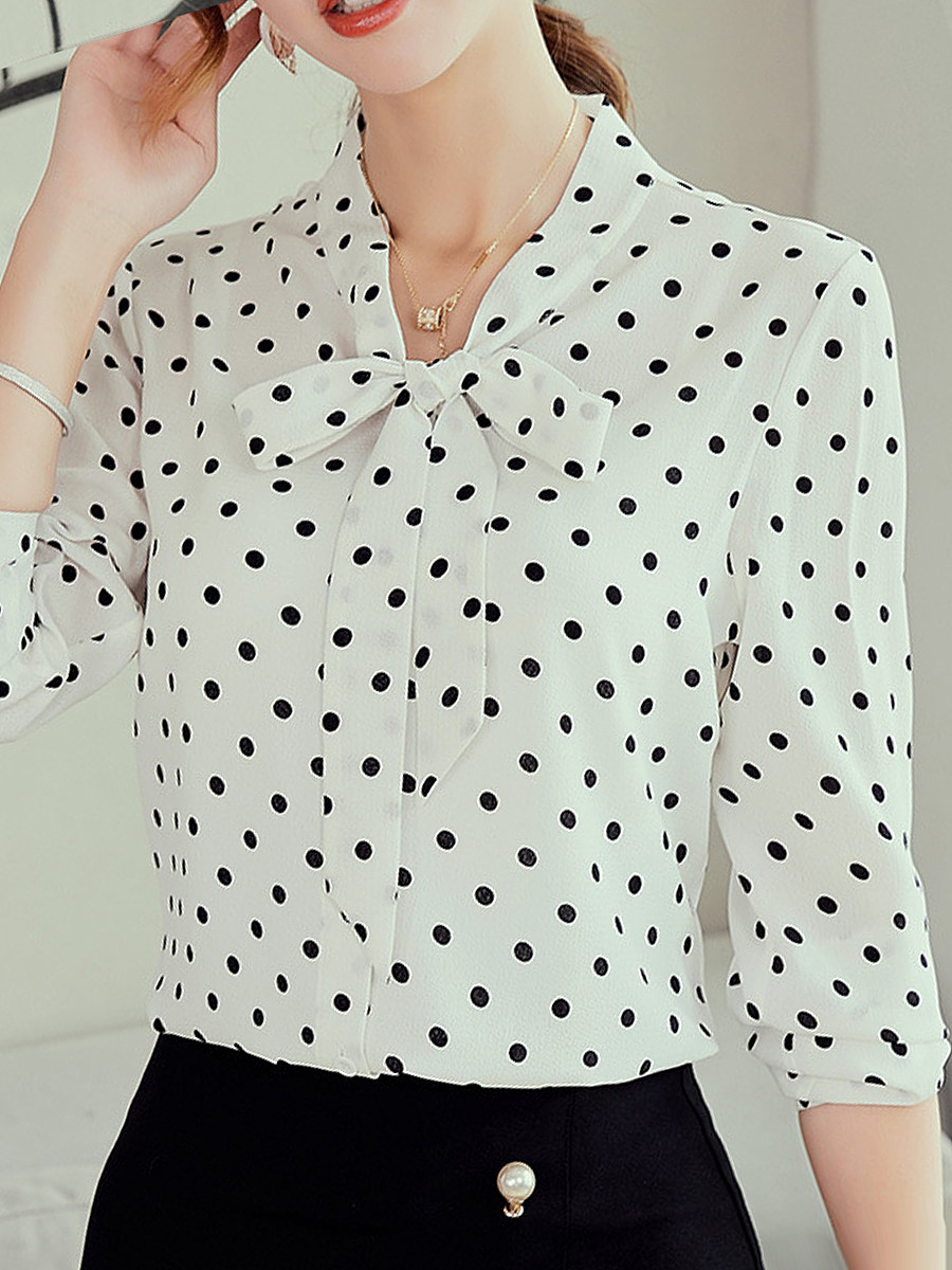 Band Collar Bow Dot Blouses