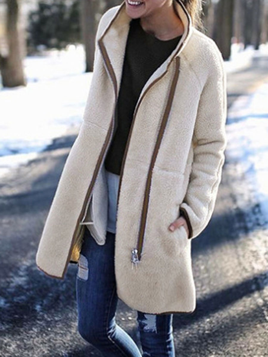 Band Collar  Zipper  Plain Coat