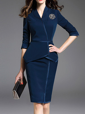 V-Neck Plain Bodycon Dress фото