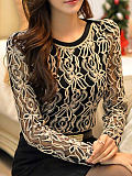 Image of Autumn Spring Polyester Women Round Neck Decorative Lace Floral Long Sleeve Blouses