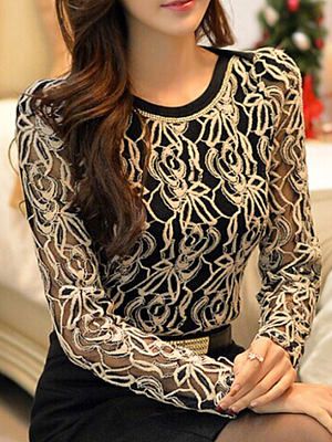 Autumn Spring Polyester Women Round Neck Decorative Lace Floral Long Sleeve Blouses, 4510439