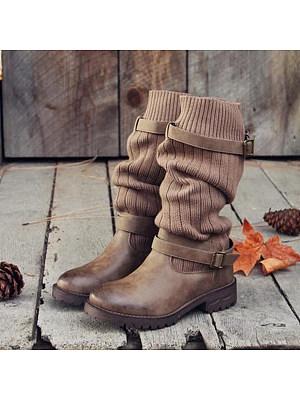 Plain  Woolen  Round Toe  Casual Outdoor  Mid Calf Flat Boots