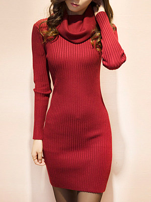 Cowl Neck Plain Knitted Bodycon Dress