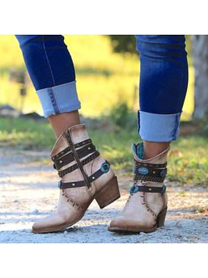 Chunky High Heeled Casual Outdoor High Heels Boots, 8481967