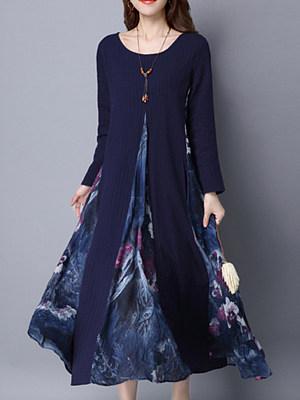 Round Neck Printed Pocket Maxi Dress