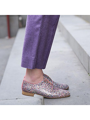 Women's Fashion Casual Sequins Low Heel Lace-Up Flats, 8499518