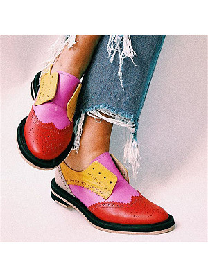 Casual Classic Lace-Up Contrast Color Single Shoes