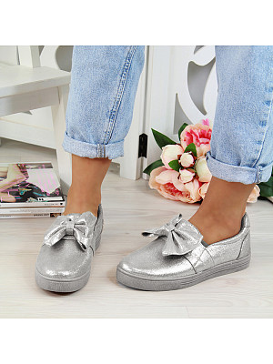 Sweet Bowknot Pure Color Flat Single Shoes, 8419078