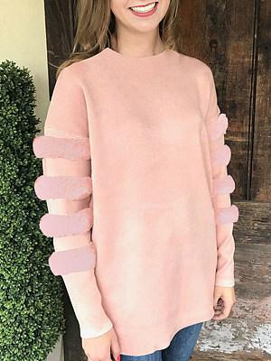 Patchwork  Plain  Long Sleeve Sweatshirts