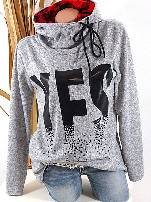 High Neck Drawstring Letters Long Sleeve Hoodies, 6202354