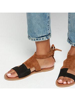 Color Block Flat Peep Toe Flat Sandals, 6941001