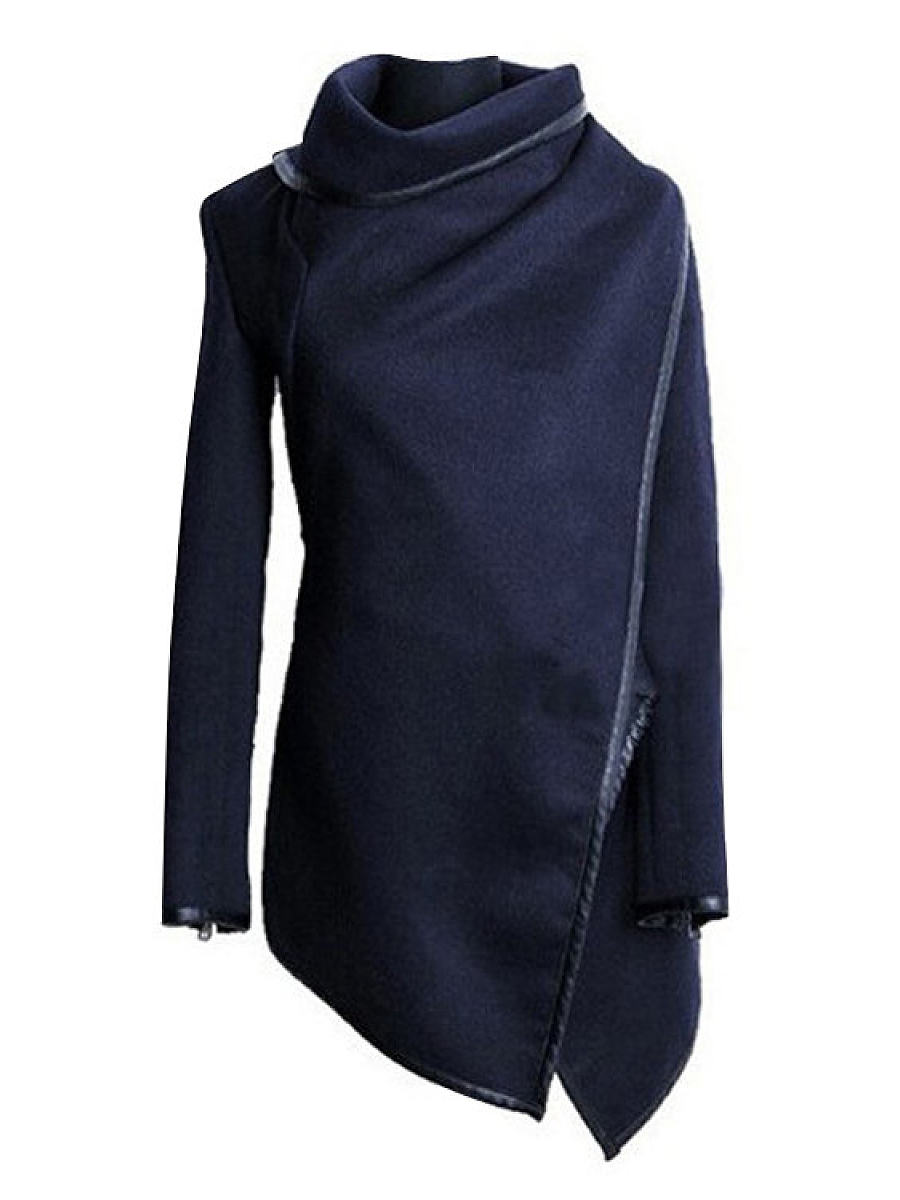 Asymmetric Neck  Asymmetric Hem Zipper  Plain Coats