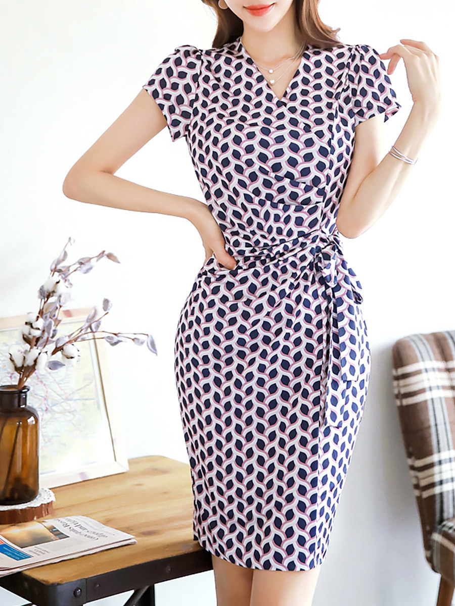 Retro Print Short Sleeve Wrap Bodycon Dress