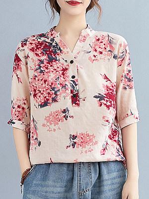 V Neck Floral Print Short Sleeve Blouse, 24556319