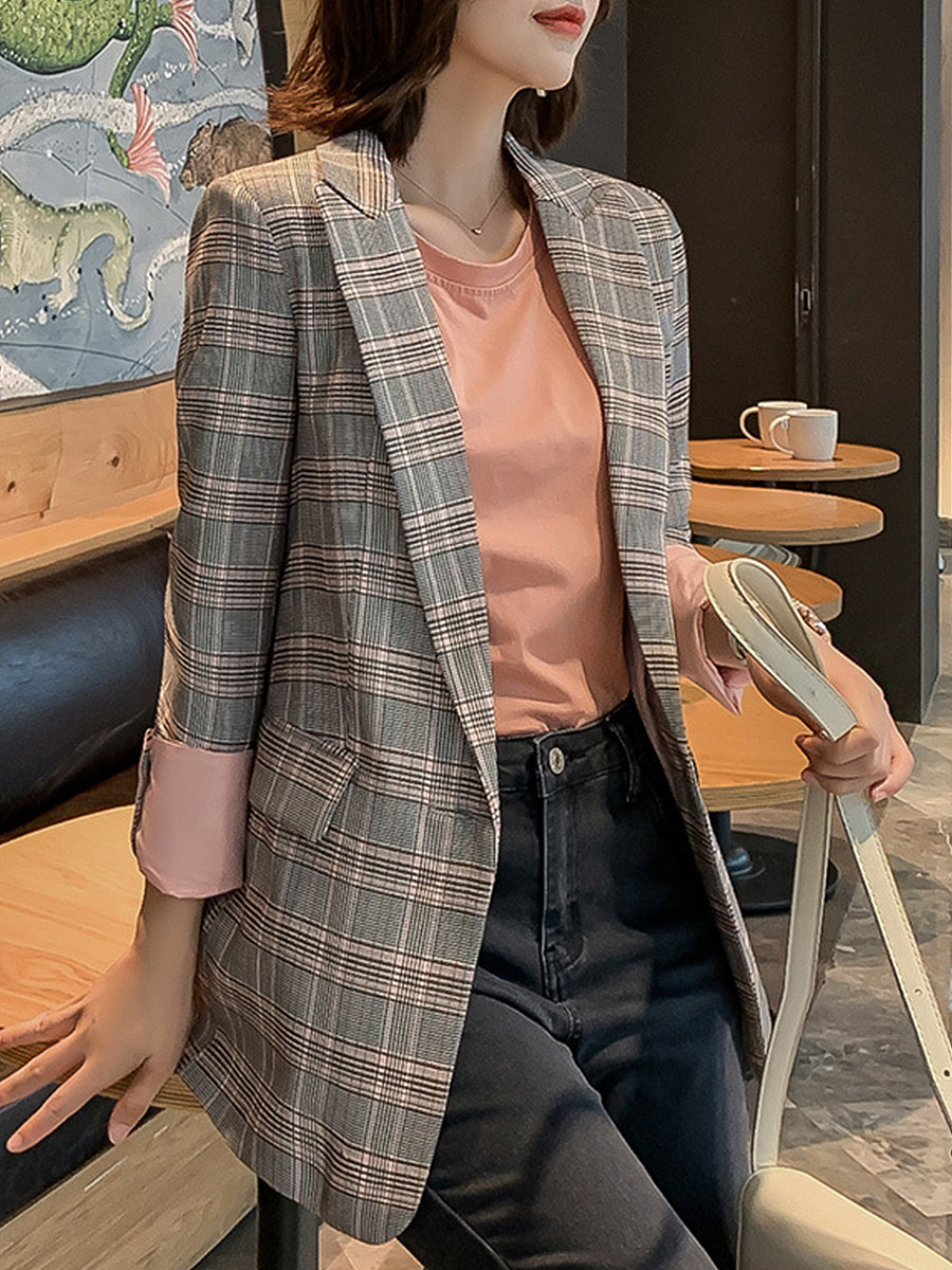 Stylish Plaid Collar Blazer