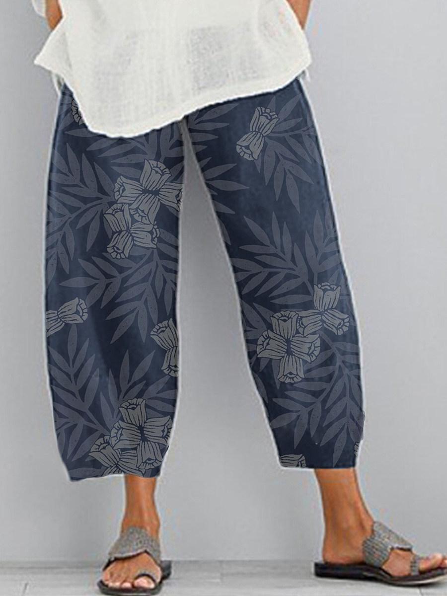 BerryLook Fashion printed split wide leg casual pants