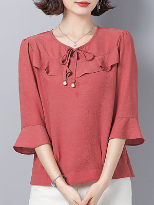 Round Neck Plain Three-quarter Sleeve Blouse, 11355751