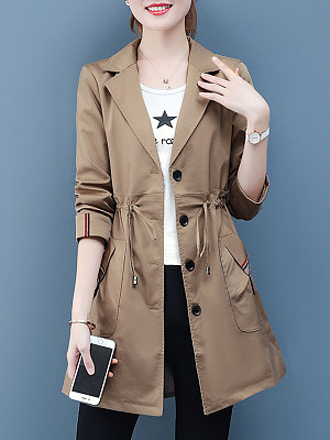 Stylish Waist-Folding Collar Trench Coat, 11399145