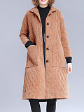 Image of Korean style corduroy mid-length corduroy quilted trench coat women's clothing