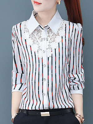 Turn Down collar Patchwork Lace Long Sleeve Blouse, 10655510
