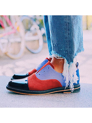 Retro ladies round-toe mixed color single shoes, 11013632