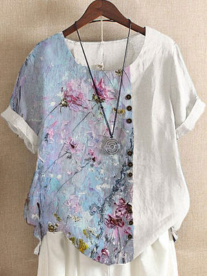 Round Neck Oil Painting Print Loose Short-sleeved Blouse