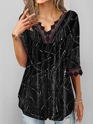 Buy Short sleeve T-shirts online shopping sites, online from Berrylook Apparel & Accessories>Clothing>Shirts & Tops>T-Shirts, Berrylook V Neck Lace Patchwork Half Sleeve T-shirt is well made of Polyester and it\\\'s features are: bust:92,length:66 (in inches). Find best Short sleeve T-shirts at Berrylook.com
