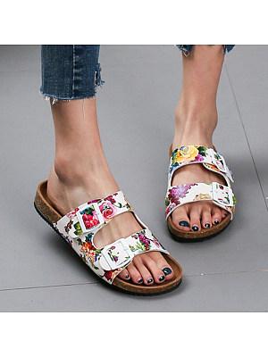 Berrylook Women's Casual Printed Flat Sandals online shop, online sale, printing Sandals,