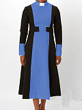 Image of Colorblock Long Sleeve Waist Waist A-Line Dress