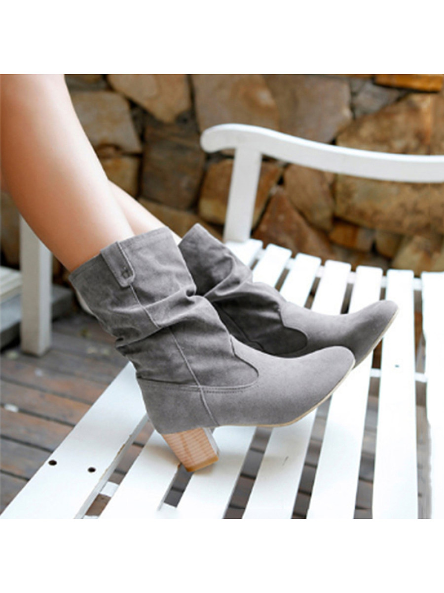 Fashion ladies pure color thick heel mid boots - from $29.95