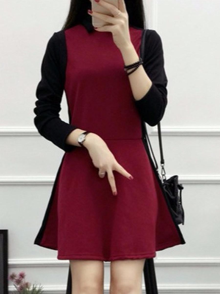 Women's long sleeve colorblock dress - from $20.95