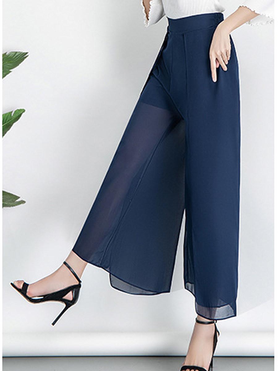 BerryLook Summer drape loose high waist chiffon wide-leg pants