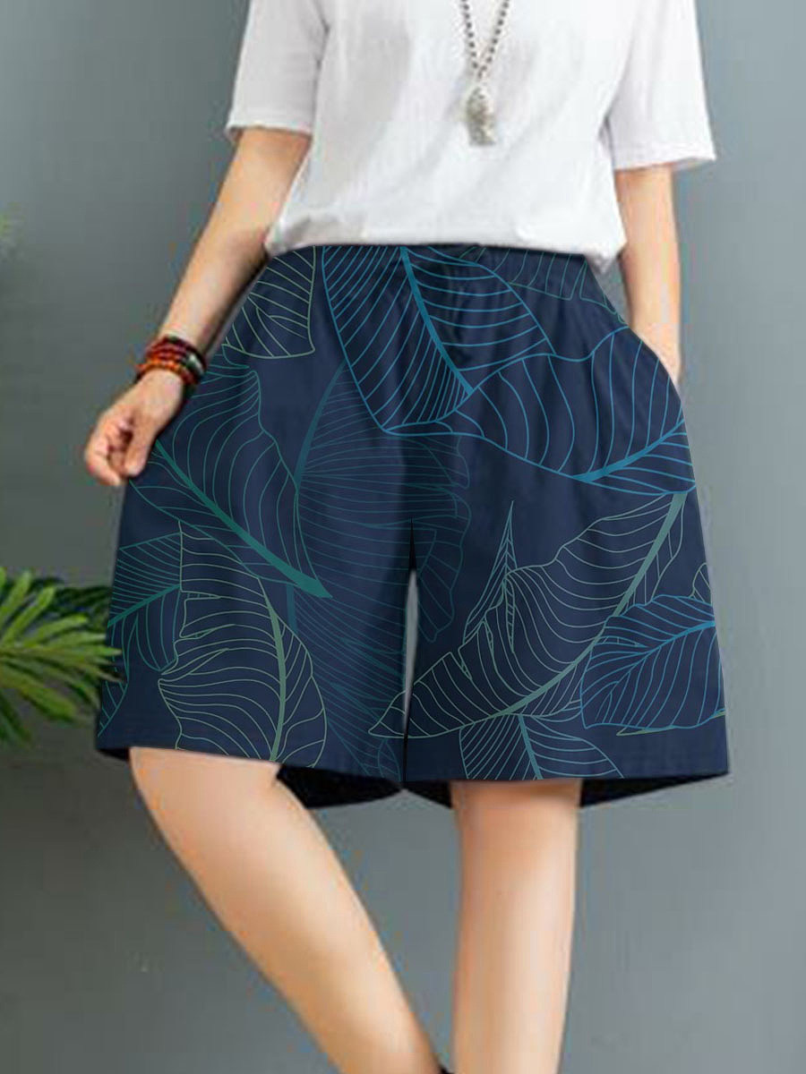 Fashion printed cotton and linen wide-leg shorts