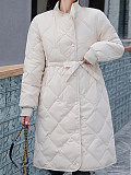 Image of long coat winter Korean style stand-up collar down jacket down cotton
