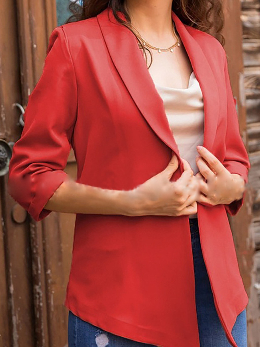 Temperament Fold Collar Solid Color Blazer