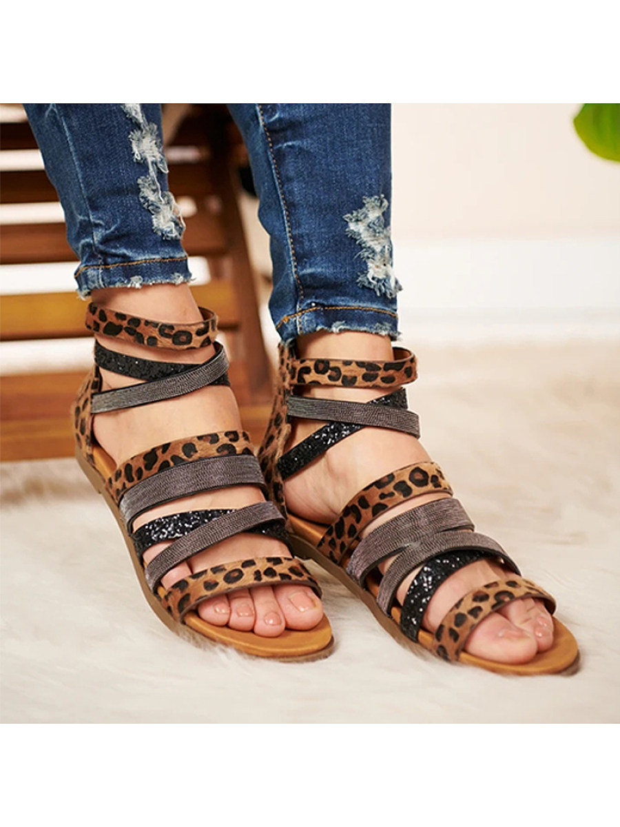 BerryLook Leopard-print strappy soft-sole Roman sandals