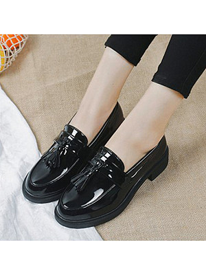 Plain Round Toe Casual Date Comfort Flats, 11173771