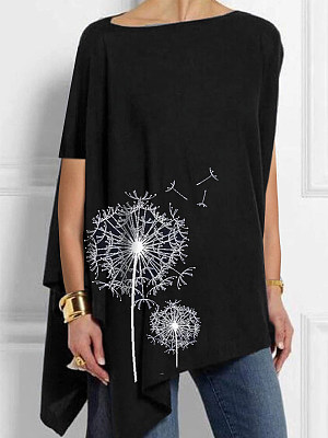 Round Neck Casual Print Loose Fitting Short Sleeve T-shirt фото