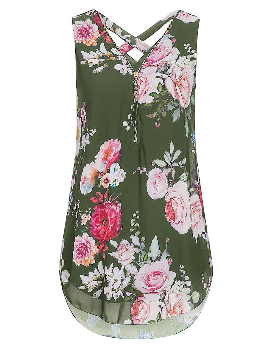 BerryLook V Neck Floral Zips Sleeveless Blouse