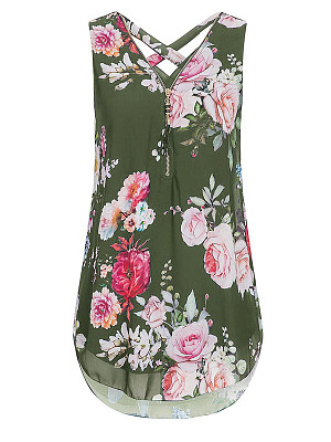 Buy Blouses stores and shops, online sale from Berrylook Apparel & Accessories>Clothing>Shirts & Tops, Berrylook V Neck Floral Zips Sleeveless Blouse is well made of Chiffon and it\\\'s features are: bust:112,clothing length:76 (in inches). Find best white shirt womens, red top at Berrylook.com