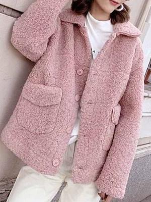 Commuting Single-breasted New Long Sleeve Short Lamb Coat
